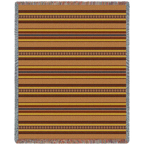 "100% Cotton Southwest Blanket, Woven Large Soft Comforting Aztec Blanket ""Sky Blue Saddle"" w/ Cotton Fringe & A Native American Pattern, Tribal Camp Throw (72x54) Tapestry Throw"