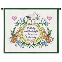 Lullabye and Goodnight | Woven Tapestry Wall Art Hanging | Whimsical Stork and Sleeping Bunnies Baby Room Decor | 100% Cotton USA Size 25x5x23 Wall Tapestry