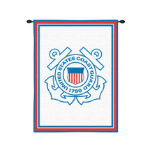 US Coast Guard | Woven Tapestry Wall Art Hanging | American Armed Forces Patriotic Logo Design | 100% Cotton USA Size 34x26 Wall Tapestry