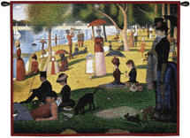 A Sunday Afternoon on the Island of La Grande Jatte by Georges Seurat | Woven Tapestry Wall Art Hanging | Pointillist Parisian Riverside Masterpiece | 100% Cotton USA Size 33x26 Wall Tapestry