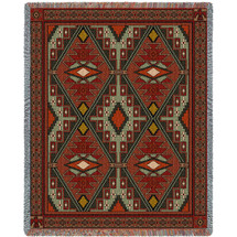 Trailwalker - Southwest Native American Inspired Tribal Camp - Cotton Woven Blanket Throw - Made in the USA (72x54) Tapestry Throw