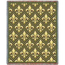 Pure Country Weavers - Fleur De Lis Woven Large Soft Comforting Throw Blanket With Artistic Textured Design Cotton USA 72x54 Tapestry Throw