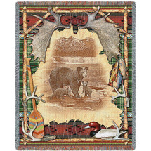 Antler Lodge Cabin Hunting Woven Blanket Large Soft Comforting Lodge Décor Throw 100% Cotton Made in the USA 72x54 Tapestry Throw