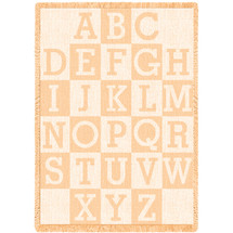 ABC Alphabet Natural Small Blanket Afghan