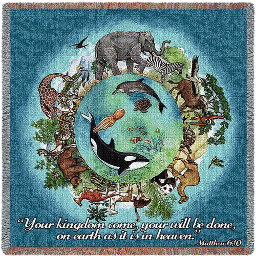 Pure Country Weavers - Kingdom Come Your Will be Done Animals Woven Throw Blanket With Artistic Textured Design Cotton USA 72x54 Tapestry Throw