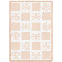 Snowflake - Natural Cotton Woven Blanket Throw - Made in the USA (70x50) Afghan