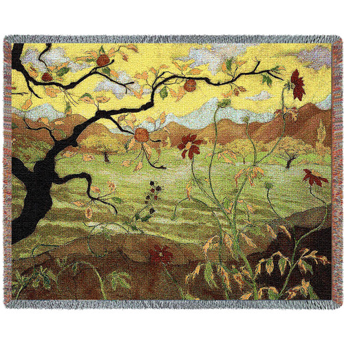 Apple Tree with Red Fruit by Paul Ransom Tapestry Throw