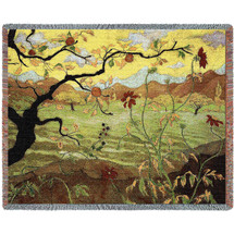 Apple Tree with Red Fruit - Paul Ramson - Paul Ransom - Cotton Woven Blanket Throw - Made in the USA (72x54) Tapestry Throw