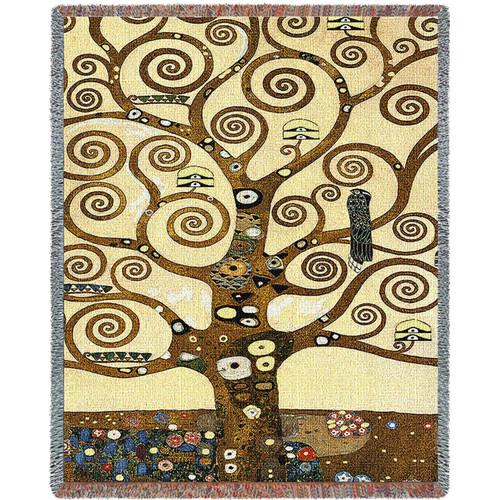 Stoclet Frieze by Gustav Klimt - Tree of Life - Tapestry Throw