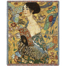 Lady With Fan - Gustav Klimt - Cotton Woven Blanket Throw - Made in the USA (72x54) Tapestry Throw