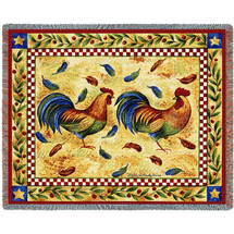 Two French Roosters Woven Large Soft Comforting Throw Blanket Cotton With Artistic Textured Design Cotton USA 72x54 Tapestry Throw