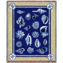 Shell Collection - Helen Vladykina - Cotton Woven Blanket Throw - Made in the USA (72x54) Tapestry Throw