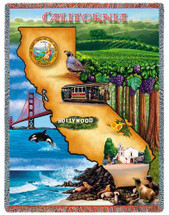State Of California Tapestry Throw