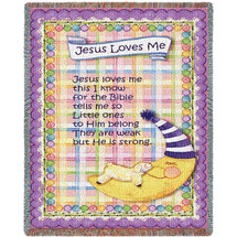 Pure Country Weavers - Jesus Loves Me Purple Border Woven Large Soft Comforting Throw Blanket With Artistic Textured Design Cotton USA 35x54 Tapestry Throw
