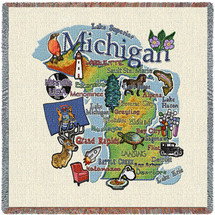 State of Michigan - Lap Square Cotton Woven Blanket Throw - Made in the USA (54x54) Lap Square