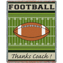 Pure Country Weavers - Thanks Coach Gift Football Woven Large Soft Comforting Throw Blanket With Artistic Textured Design Cotton USA 72x54 Tapestry Throw