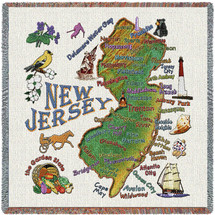 State of New Jersey - Lap Square Cotton Woven Blanket Throw - Made in the USA (54x54) Lap Square