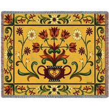 Heritage Floral - Folk Art Sampler - Tapestry Throw