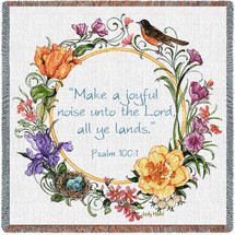 Joyful Noise Unto the Lord All Ye Lands- Scriptures - Psalm 100:1 - Lap Square Cotton Woven Blanket Throw - Made in the USA (54x54) Lap Square