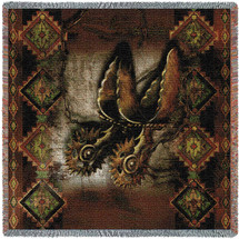 Western Spur - Cowboy - Alma Lee - Lap Square Cotton Woven Blanket Throw - Made in the USA (54x54) Lap Square