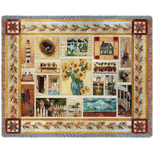 American Country Style Woven Blanket Large Soft Comforting Throw 100% Cotton Made in the USA 72x54 Tapestry Throw