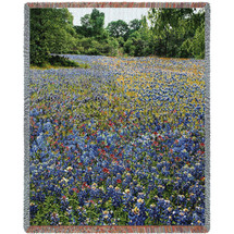 State Of Texas Bluebonnets Woven Tapestry Throw
