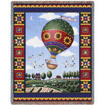 Sunflower Hot Air Balloon Quilt Woven Large Soft Comforting Throw Blanket With Artistic Textured Design Cotton USA 72x54 Tapestry Throw
