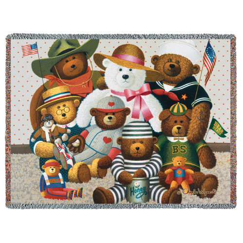 Pure Country Weavers - Gangs All Here Teddy Bears Woven Large Soft Comforting Throw Blanket With Artistic Textured Design Cotton USA 72x54 Tapestry Throw