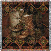 Western Boot - Cowboy Alma Lee - Lap Square Cotton Woven Blanket Throw - Made in the USA (54x54) Lap Square