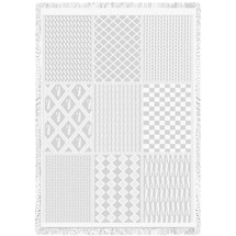Irish Fisherman White Natural Woven Throw Blanket With Artistic Textured Design by Artisan Textile Mill Pure Country Weavers USA Made Size 70x50 Cotton Woven to Last a Lifetime Natural