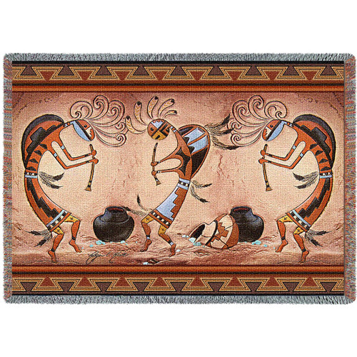Kokopelli Pot Dance - Tapestry Throw