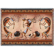 Kokopelli Pot Dance - Tapestry Throw