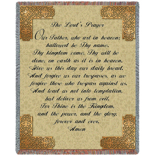 The Lord's Prayer - Cotton Woven Blanket Throw - Made in the USA (72x54) Tapestry Throw