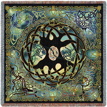 Celtic Tree of Life - Jen Delyth - Lap Square Blanket Throw Woven from Cotton - Made in the USA (54x54) Lap Square