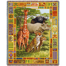 African Plains Woven Large Soft Comforting Throw Blanket 100% Cotton Made in the USA 72x54 Tapestry Throw