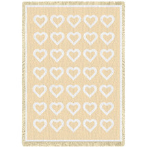 Basketweave Hearts - Natural Cotton Woven Blanket Throw - Made in the USA (70x50) Afghan