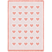 Basketweave Hearts Pink Natural