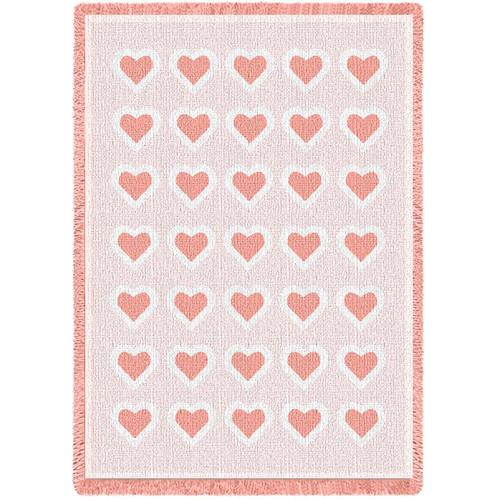Basketweave Hearts Pink Natural