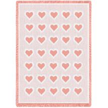 Basketweave Hearts Pink Natural Small Blanket Afghan