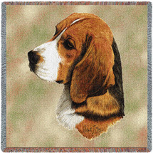 Beagle - Robert May - Lap Square Cotton Woven Blanket Throw - Made in the USA (54x54) Lap Square