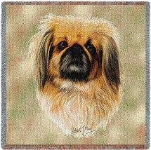 Pekingese - Robert May - Lap Square Cotton Woven Blanket Throw - Made in the USA (54x54) Lap Square