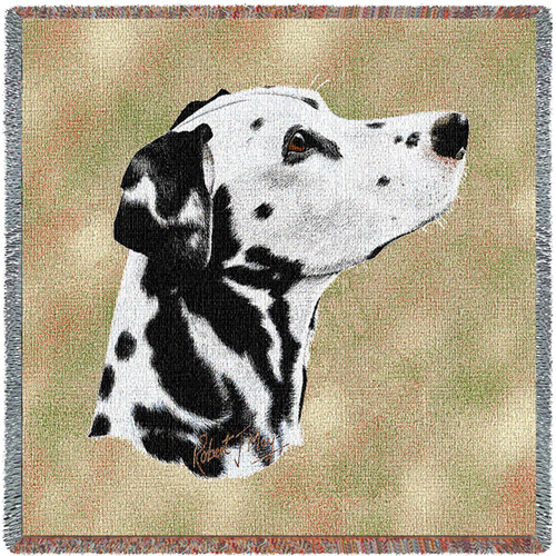 Dalmatian - Robert May - Lap Square Cotton Woven Blanket Throw - Made in the USA (54x54) Lap Square