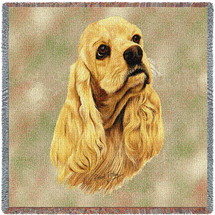 Cocker Spaniel - Robert May - Lap Square Cotton Woven Blanket Throw - Made in the USA (54x54) Lap Square