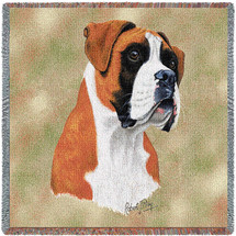 Boxer - Robert May - Lap Square Cotton Woven Blanket Throw - Made in the USA (54x54) Lap Square