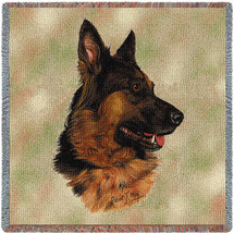 German Shepherd - Robert May - Lap Square Cotton Woven Blanket Throw - Made in the USA (54x54) Lap Square