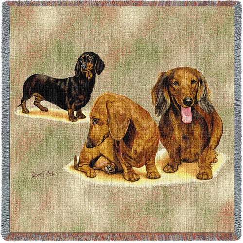 Dachshund Puppies - Robert May - Lap Square Cotton Woven Blanket Throw - Made in the USA (54x54) Lap Square