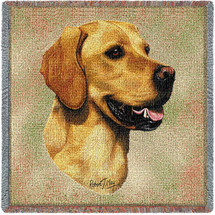Golden Retriever Robert May - Lap Square Cotton Woven Blanket Throw - Made in the USA (54x54) Lap Square