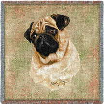 Pug - Robert May - Lap Square Cotton Woven Blanket Throw - Made in the USA (54x54) Lap Square