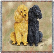 Poodles - Robert May - Lap Square Cotton Woven Blanket Throw - Made in the USA (54x54) Lap Square