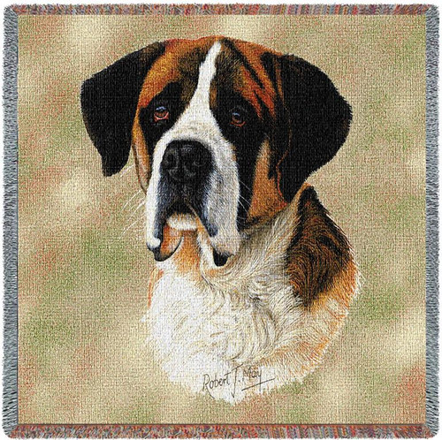 Saint Bernard - Robert May - Lap Square Cotton Woven Blanket Throw - Made in the USA (54x54) Lap Square